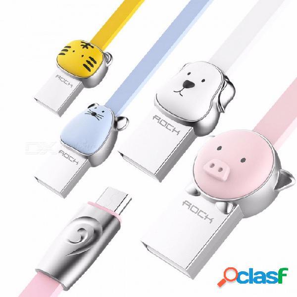 Pollo rock mascota serie aleación de metal micro usb cable de datos de carga para samsung, xiaomi, huawei, meizu, htc, teléfonos android 100 cm / tigre amarillo