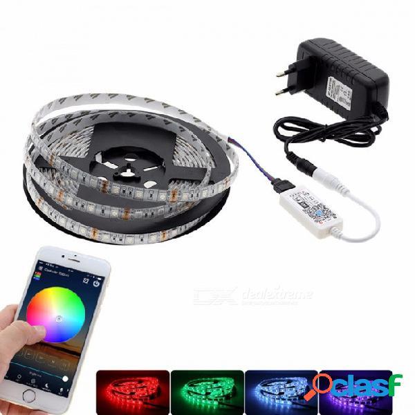 5m control de wi-fi smd5050 rgb led strip kit de luz de neón con mini controlador de wi-fi rgb + adaptador de alimentación de 12 v para la decoración del hogar