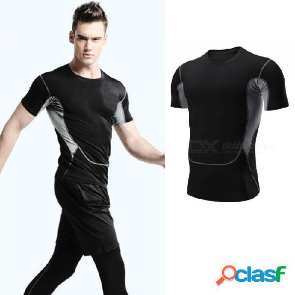 De secado rápido transpirable flaco de manga corta camisetas hombres deportes de alta elasticidad ropa de fitness negro / m