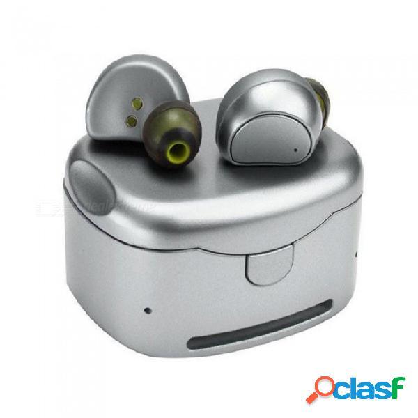 Hv-316t tws gemelos auriculares inalámbricos verdaderos, mini auriculares estéreo bluetooth, auriculares manos libres con muelle de carga de plata