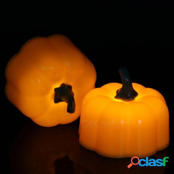 Luz de la noche de la vela de la calabaza de 12pcs con pilas del led, vela electrónica linda para la decoración casera de la barra del partido de halloween amarilla / anaranjada