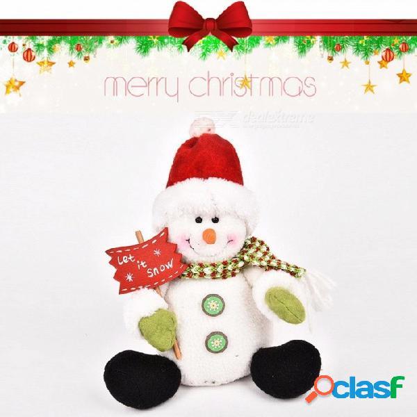 Muñeco de navidad juguete santa claus muñeco de nieve ciervos decoración de navidad, regalo de navidad 25cm 11cm-30cm / blanco