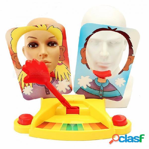 Nuevo juego de mesa de entretenimiento, crema doble golpeador de cara máquina de trituración juguete divertido gadget para niños niños regalo de cumpleaños chritsmas amarillo