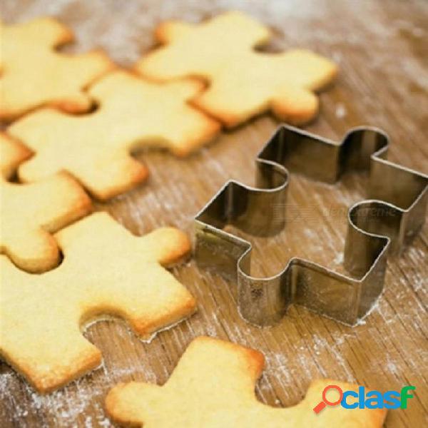 4 unids puzzle de acero inoxidable cortador de galletas de bricolaje pastel de galleta de postre pasta fondant cake sugarcraft decorating cortador de herramientas herramienta rompecabezas cor