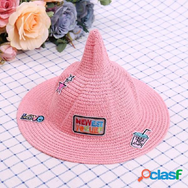 Cartas de dibujos animados colapsables redondas sombrero de paja sombrero de paja niños dibujos animados gorra de sombrilla sombrero de pescador de vacaciones para niños blanco