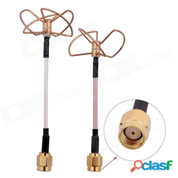 Fpv 5.8g trébol 3-blade que transmite con la antena que recibe de 4 láminas (tx con rx) conectador recto de la perforación