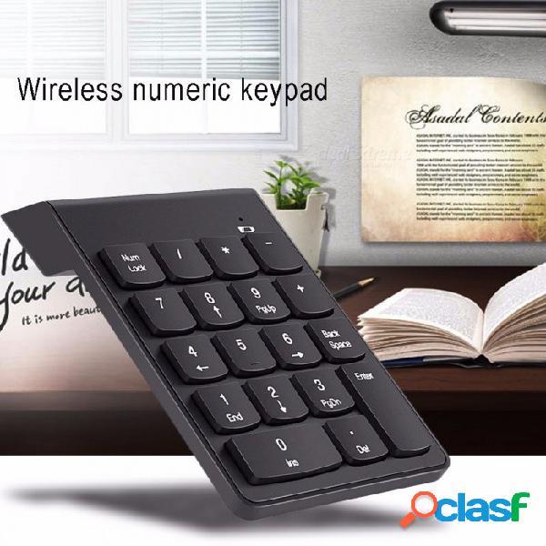Teclado numérico usb inalámbrico de 2.4g, mini teclado numérico de 18 teclas y teclado numérico para el portátil de imac / macbook air / pro laptop notebook desktop negro