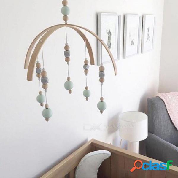 Cuentas de madera viento campanas campana de viento de estilo nórdico para niños cama colgando decoración tienda de campaña decoración props regalos blanco