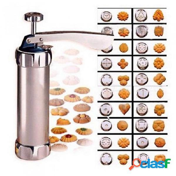 Galletas cortador de prensa herramientas de horneado galleta galletas máquina de prensa utensilios de cocina para hornear con 20 moldes para galletas y 4 boquillas 206 x 145 x 55 mm