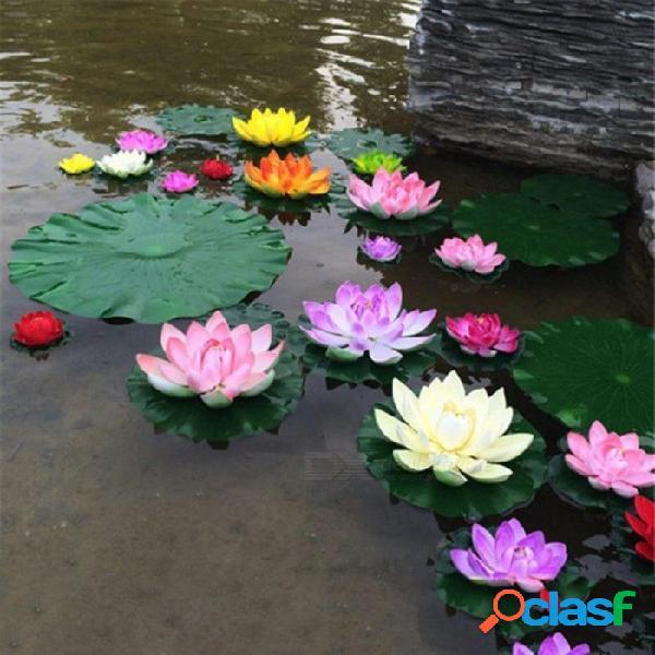 Loto artificial lirio de agua flor flotante estanque tanque planta ornamento 10 cm casa jardín estanque decoración 1 unids