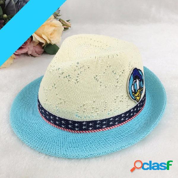 Sombrero de pato de dibujos animados de verano sombrero de color de contraste para niños sombrero de sol de paja casual de niños niñas para viajes de color caqui al aire libre