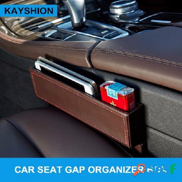 Asiento de automóvil de usos múltiples caja de almacenamiento de la grieta bolso de cuero organizador de brecha automático que lleva bolsillo caja de almacenamiento de espacio de asiento de a