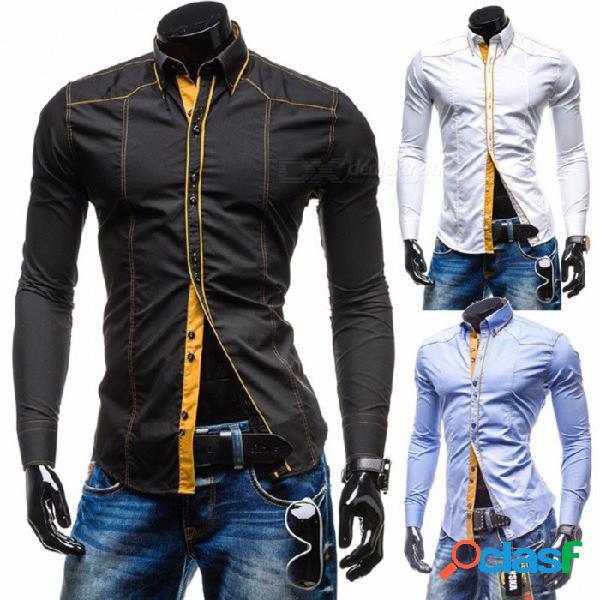 Camisa de los hombres 2018 marca de moda de los hombres camisa de manga larga de color sólido masculino camisa masculina casual camisas delgadas negro / m