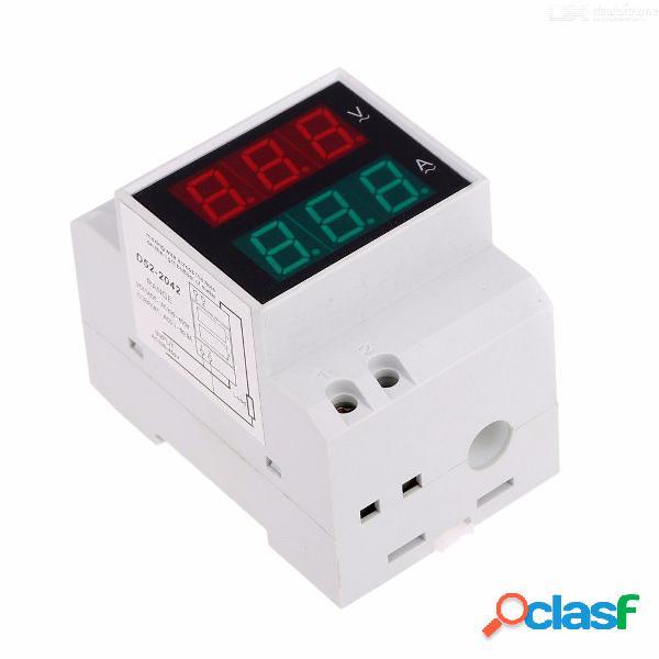 Digital din-rail led voltaje amperímetro medidor de corriente voltímetro ac200-450 v 0.2-99.9a pantalla doble