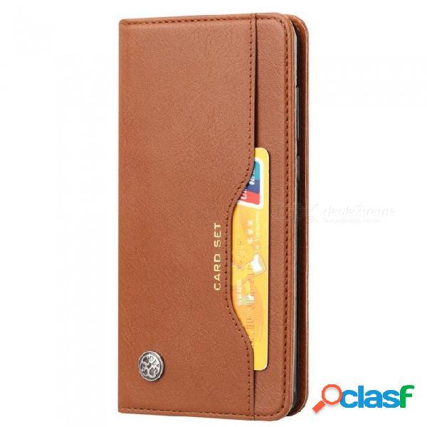 Funda protectora de teléfono con tapa de aluminio abs para huawei p20, tapa de la caja del teléfono celular con ranuras para tarjetas de pie p20