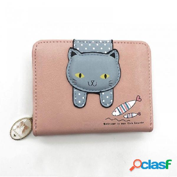 Monedero de las mujeres gato lindo pequeño cremallera chica billetera marca diseñada pu cuero mujer monedero femenino titular de la tarjeta billetera azul bilateral