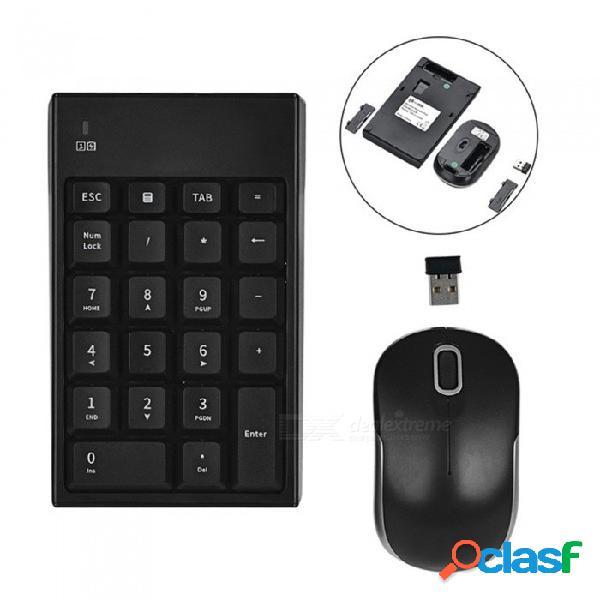 Teclado de número de teclado inalámbrico 2.4g de enlace automático & combo de ratón óptico para computadoras de escritorio portátiles
