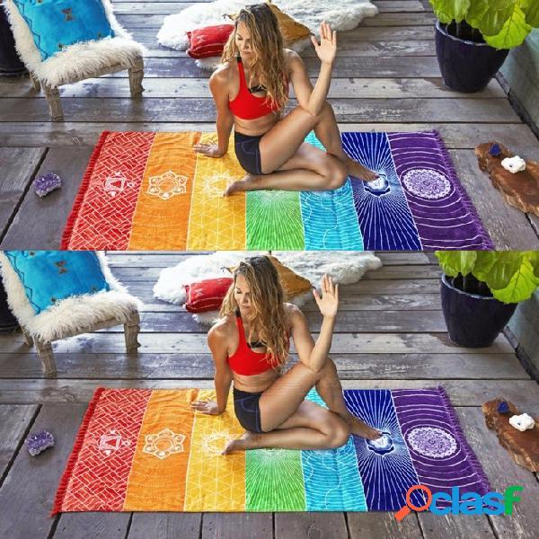 Toalla De Playa Del Arco Iris De La Raya Del Poliéster, Toalla De Baño Del Deporte, Toalla Grande Colorida Del Sunbath De Las Mujeres Del Verano, Estera De La Manta De La Yoga Multi / Un Tama