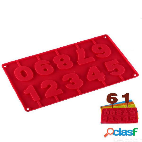 1 unids números de silicona galletas de chocolate molde frío 3d forma digital fondant herramientas de decoración de pasteles
