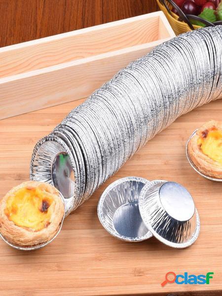 250 unids papel de aluminio desechable para hornear galletas muffin magdalena huevo tarta molde redondo