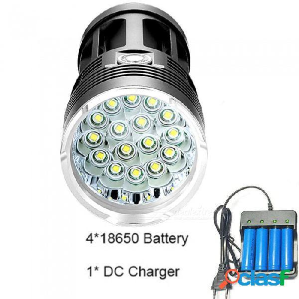 Aibber tone potente linterna led 72000 lúmenes 3to18 * t6 led linterna táctica linterna 3 modos linterna lámpara portátil por 4 * 18650