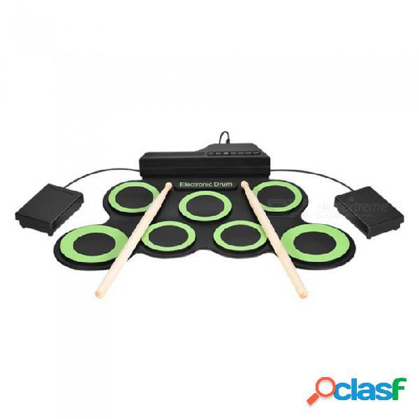 Batería electrónica portátil esamact, usb 7, almohadillas, batería enrollable, batería eléctrica, batería, pedal con pedales, pedal de pedal
