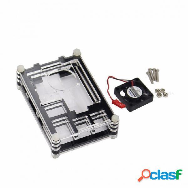 Caja de alta calidad de frambuesa pi 3 de 9 capas caja de acrílico de frambuesa pi 2 con ventilador de refrigeración para frambuesa pi 3 modelo b caja de ventilador blak