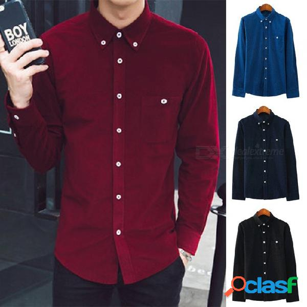 Camisa de manga larga para hombre de pana de moda de pana camisa de cuello redondo informal color sólido para hombre negro / m