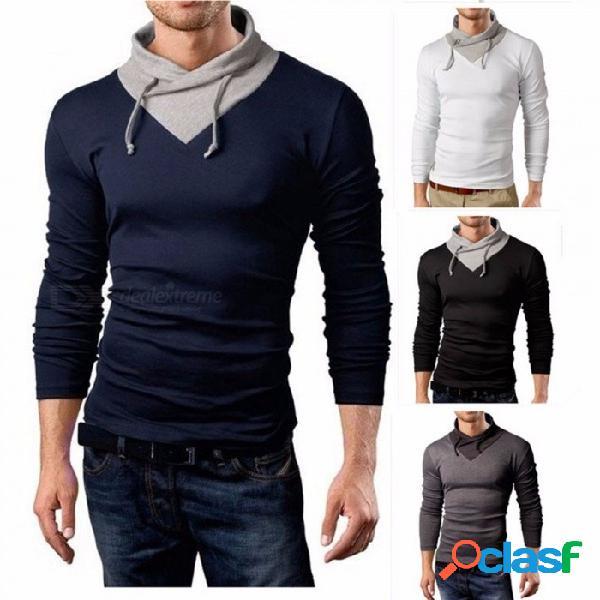 Camiseta con capucha de los hombres, camiseta ocasional de la honda del otoño, falso de dos piezas delgado masculino de la camiseta de manga larga top negro / m