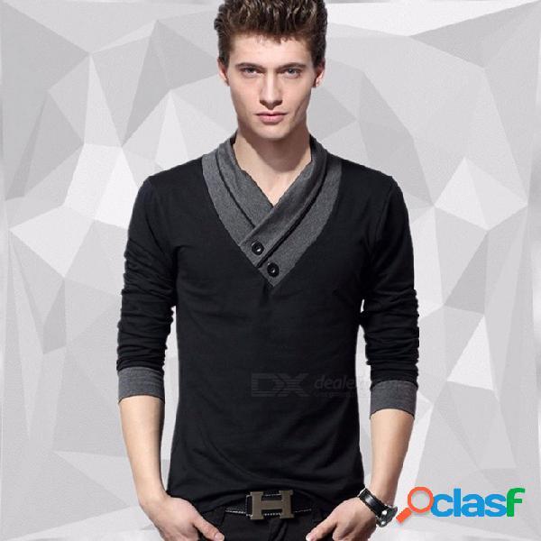 Camiseta de algodón de manga larga, elástica, delgada, con cuello en v, manga larga, camiseta hombre tops negro / m