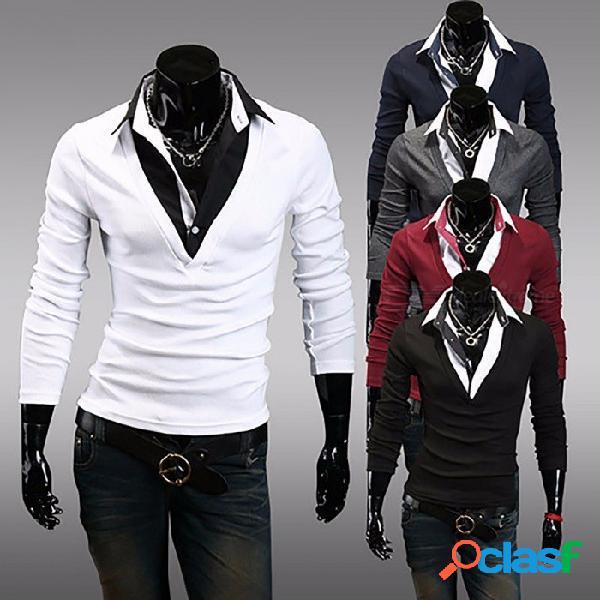 Moda camiseta de hombre delgado, con cuello en v falso, dos piezas, camiseta masculina de manga larga, camiseta superior, camiseta negra / m