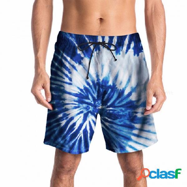 Pantalones cortos de verano de la impresión 3d del mens pantalones cortos de la playa de la juventud pantalones flojos de la mitad pantalones hasta la rodilla pantalones cintura elástica azul