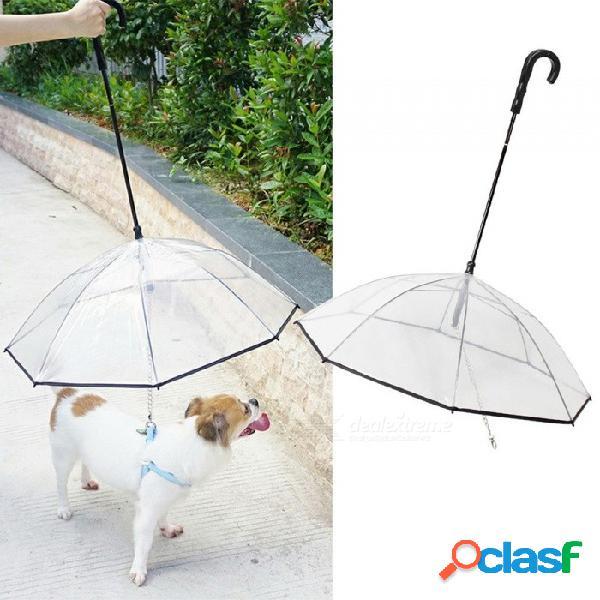 Paraguas pe transparente para mascotas, pequeño paraguas para perros lluvia con plomo para perros, mantiene a la mascota seca y cómoda bajo la lluvia