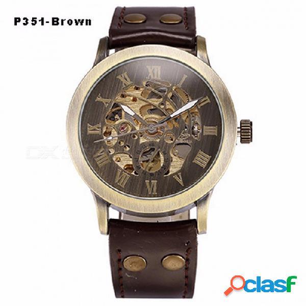 Reloj mecánico automático esqueleto steampunk, cuero antiguo de bronce retro reloj de pulsera automático para hombres p351 marrón