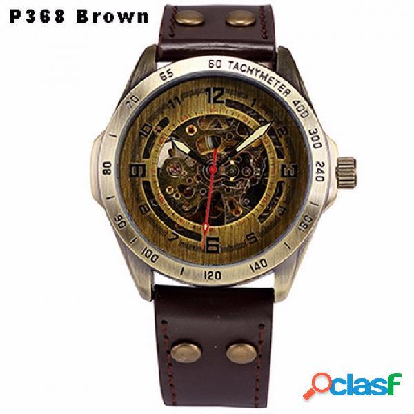 Reloj mecánico automático esqueleto steampunk, cuero antiguo de bronce retro reloj de pulsera automático para hombres p368 marrón