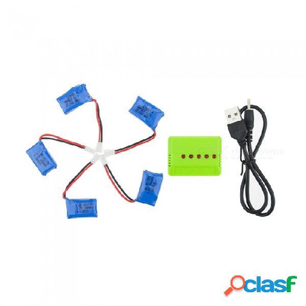 5 unids 3.7 v 150 mah li-po batería con 5-en-1 cargador verde para hubsan h107 h107c syma x5c jjrc h8 mini