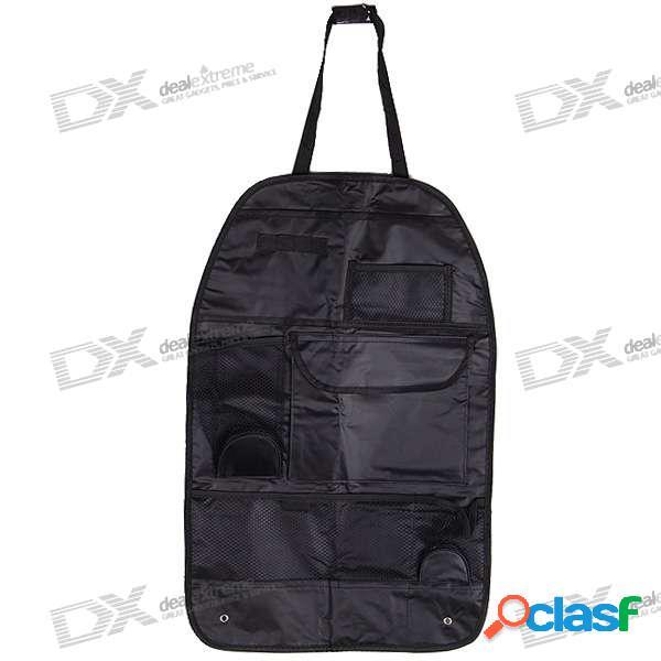 Bolsa de almacenamiento universal de varios bolsillos en la parte trasera del asiento de automóvil (negro)