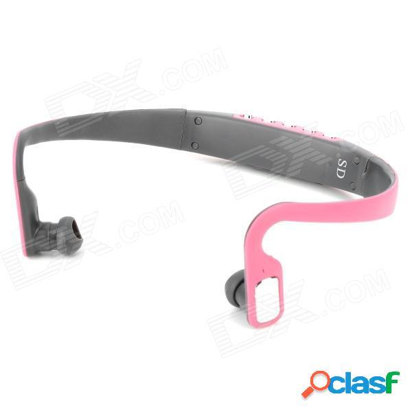 Auriculares con reproductor de mp3 en el oído recargables con estilo deportivo con fm / tf - rosa + gris