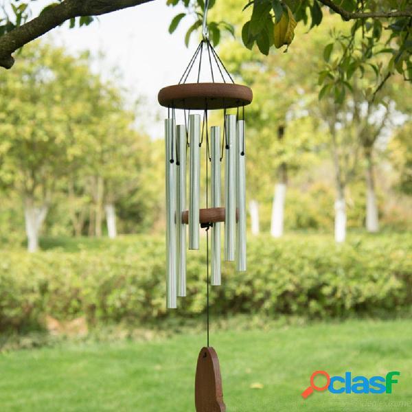 Campanas de viento de madera de metal patio jardín ventana campanas pared casa decoraciones colgantes