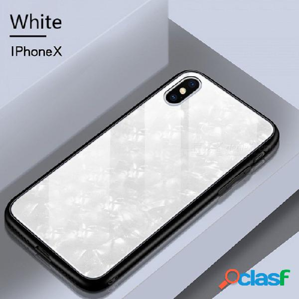 Diamante impresión tpu protector + vidrio templado caso trasero para iphone x, cubierta de la caja del teléfono celular a prueba de golpes blanco / pc + tpu