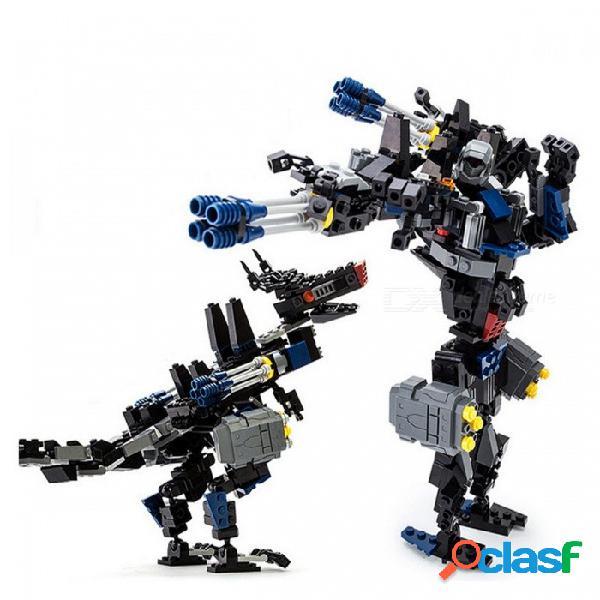 Gudi 8712 299 unids transformación serie transformación robot coche gran camión bloques de montaje - negro + gris