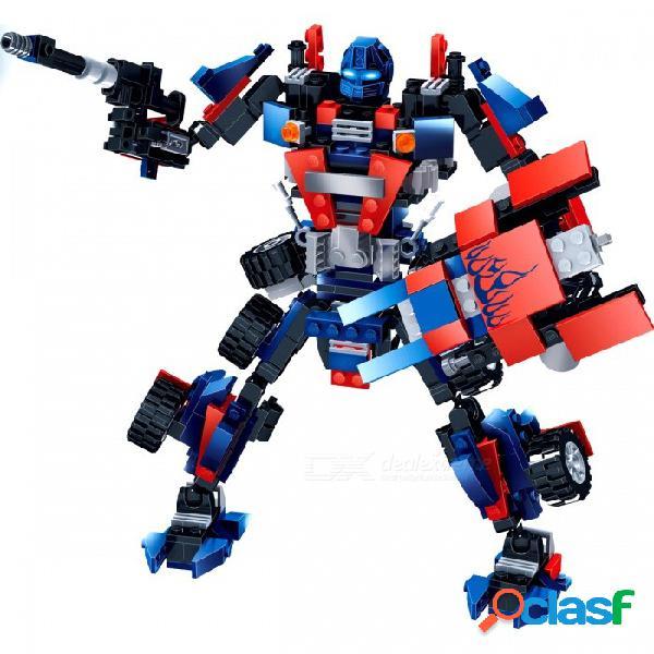 Gudi 8713 robot car blocks 377 unids ladrillos clásicos bloques de construcción set modelos juguetes educativos para niños - azul + rojo