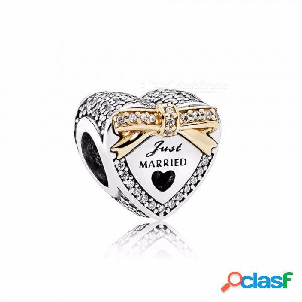 Nuevos corazones huecos estilo encantos del diamante cuentas fit pulsera collar colgante cuentas encanto mujeres regalos plata