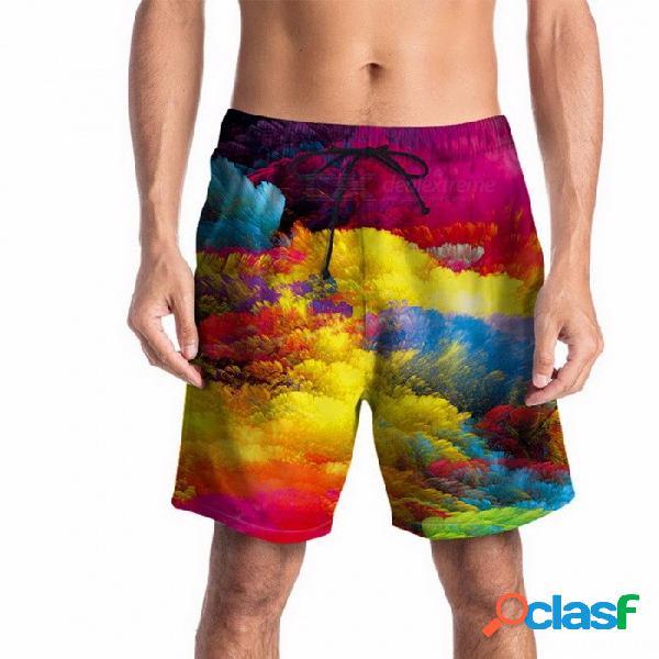 Pantalones cortos de verano de la impresión colorida de la nube del verano pantalones cortos de la playa de la juventud pantalones cortos flojos de la mitad de los pantalones pantalones hasta