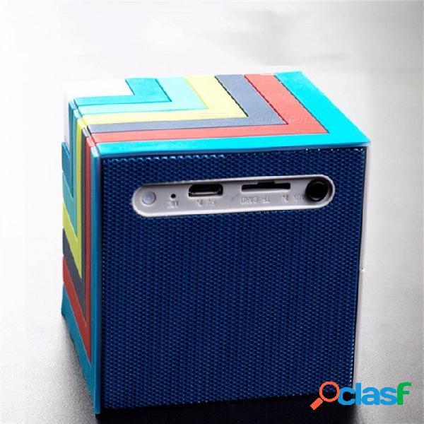 Reproductor de música estéreo con mini altavoz inalámbrico bluetooth de estilo cubo mágico con luz colorida, tarjeta tf de soporte, aux azul / altavoz