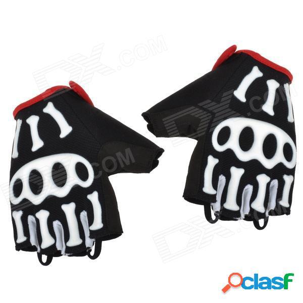 Spakct cool006 guantes de medio dedo para ciclismo al aire libre con almohadilla protectora - negro + blanco + rojo (m)