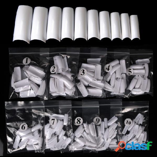 500 unids 10 tamaños blanco / claro / natural falso estilo francés acrílico uv uñas de uñas dedo envío libre
