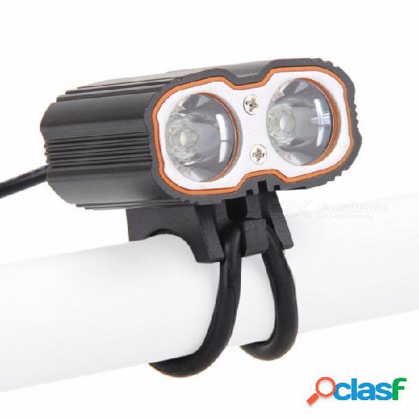 Bici bicicleta manillar faro delantero luz 2-led xm-l t6 usb recargable lámpara impermeable faro aleación de aluminio negro