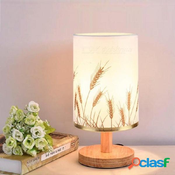 Lámpara de mesa de madera moderna e27 ac110v-240v eu ee. uu. estudiante lámpara de mesa dormitorio lámpara de noche interior sala de estar dormitorio lámpara enchufe de la ue