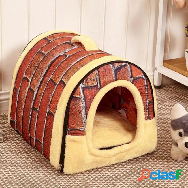 Nido de la perrera de la casa del perro con estera cama plegable para mascotas cama del gato casa de la cama para perros medianos pequeños bolsa de cama para mascotas de viaje producto
